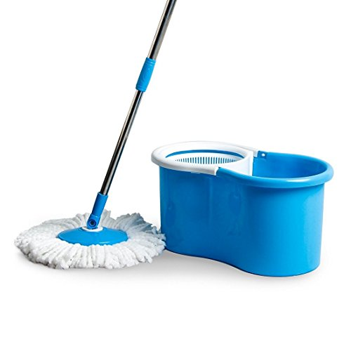 Esquire Elegant Spin Plastic Mop with 1 Extra Refill (47.3 cm x 25.5 cm x 22.5 cm, Blue)