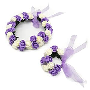 Coolwife Flower Crown Wedding Hair Wreath Floral Headband Garland Wrist Band Set 4