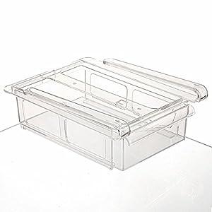 Multipurpose Fridge Drawer Storage, Chickwin 1PC Sliding Drawer Freezer Storage Shelf Refrigerator Organizer Kitchen Refrigerator Fridge Storage Rack Space Saver Shelf (Transparent white)