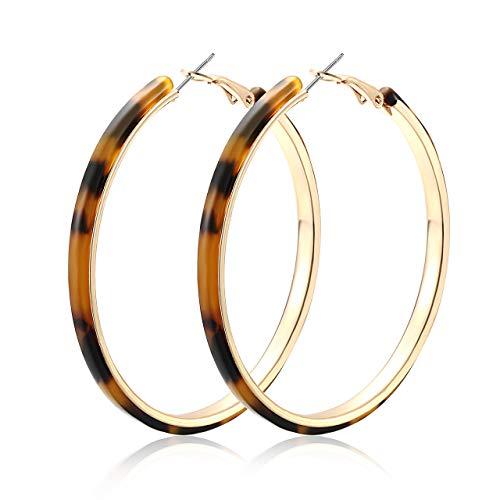 HEIDKRUEGER Acrylic Earrings Hoop Lightweight Resin Earrings Geometric Round Statement Stud Earrings Bohemian Fashion Jewelry (Tortoiseshell)