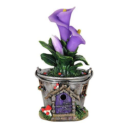 - Adjore Fairy Garden Mini - Solar Bucket Fairy House with Purple Flowers - Outdoor Garden Statue - Best Outdoor Accessory - 7
