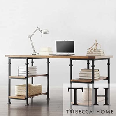 HomeSullivan Grove Natural Desk - Materials: Poplar wood, metal Type of desk: Home/office Inside shelves height: 11 inches - writing-desks, living-room-furniture, living-room - 41i7MXRUcuL. SS400  -