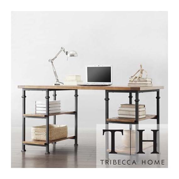 HomeSullivan Grove Natural Desk - Materials: Poplar wood, metal Type of desk: Home/office Inside shelves height: 11 inches - writing-desks, living-room-furniture, living-room - 41i7MXRUcuL. SS570  -