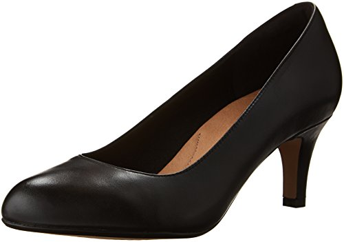 CLARKS Women's Heavenly Heart Dress Pump, Black Leather, 8.5 M US