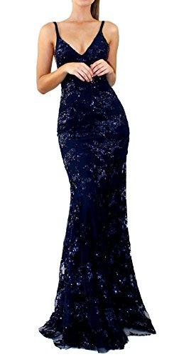 de Bocydon Ceremonia Maxi Vestido de Vestidos Eventos de Gavemenget Nocturna Mujer Azul Tirantes Sexy Cuello Vestido y Lentejuelas Fiesta Pescado Oscuro Profundo Cóctel Verano V wC6qq5HxP