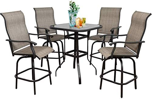 5-Piece Outdoor Patio Stools Bar Chairs