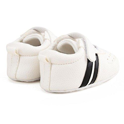 HUHU833 Unisex-Baby Neugeborene Säuglingsbaby Soft Crib Schuhe, Kleinkind Schuhe, Runde Zehe weiche alleinige Anti Rutsch Schuhe Weiß
