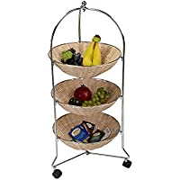 Mind Reader Mobile Kitchen Cart, Kitchen Island, Utility Cart, with 3 Removable Baskets