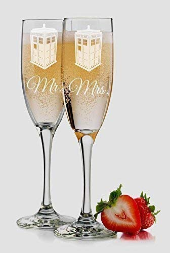 Dr. Who Inspired Tardis Police Box - Mr & Mrs Wedding Champagne Flutes - 6 oz - Personalized Custom Engraved - Set of 2 Toasting Glasses - Choice of Names & Date
