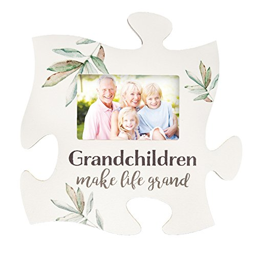 P. Graham Dunn Grandchildren Make Life Grand White 12 x 12 Wood Puzzle Photo Frame Wall Plaque