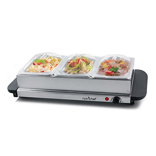 NutriChef 3 Tray Buffet Server & Hot Plate Food Warmer | Tabletop Electric Food Warming Tray | Easy Clean Stainless Steel | Portable & Great for Parties & Events | Max Temp 175F | (PKBFWM33.V7)