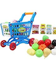 Shopping Cart Toy, Educational Toy Supermarket Playset with Included Grocery Cart Toy and Pretend Food Accessories for Kids Educational Development Pretend Game Blue 16pcs