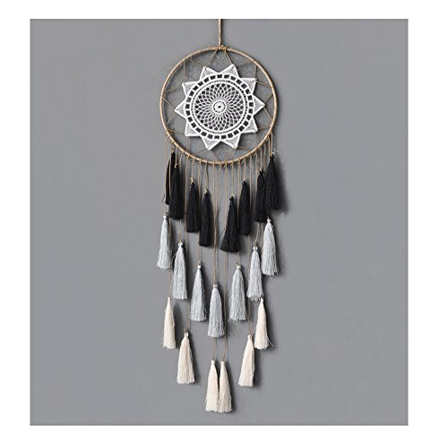 Artilady 8inch Handmade Tassel Dream Catcher Wall Decoration (Grey Mix)