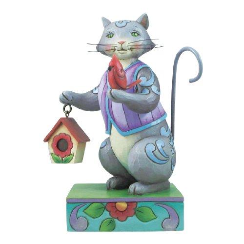 Enesco Jim Shore Heartwood Creek Cat with Cardinal/Birdhouse Figurine, (Heartwood Creek Cats)