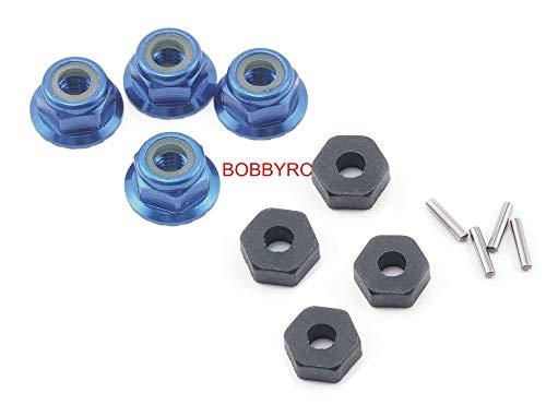 Traxxas Slash Platinum 4X4 VXL Hex Hubs, Pins, and Wheel Aluminum Axle Locknuts/Lock-Nuts (4) Blue