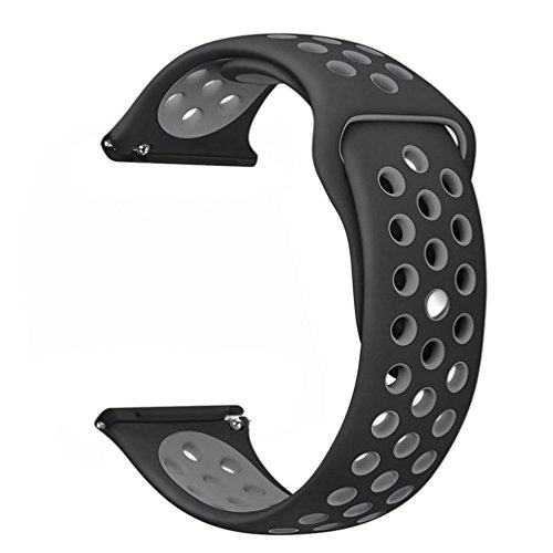 Lisin Replacement Silicone Band with Ventilation Holes Soft Silicone Sport Strap for Fitbit Versa (Gray)