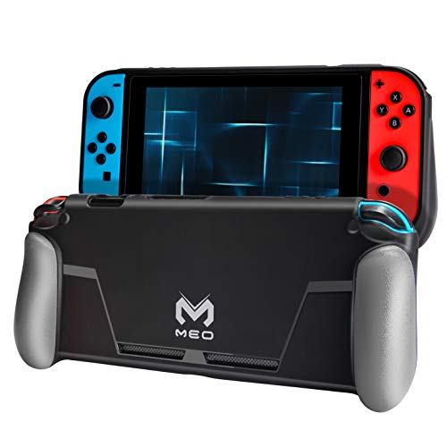 Meo Protective Case for Nintendo Switch [Stores 2 Games] Change the Grip Color [Gray / blue / red] Soft Cover Gamepad Case with Shock Absorption