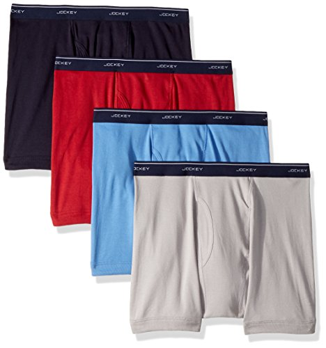 Jockey Men's Cotton Full-Rise Boxer Brief 4-Pack Helios Silver/Silver/Cosmic Blue/Red Virtual Large by Jockey (Image #1)