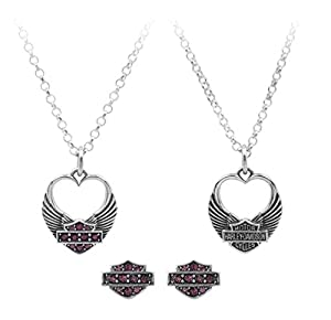 Harley-Davidson Womens Winged Heart Necklace & Earrings Gift Set, Purple HDS0003