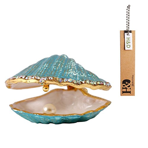 H&D Metal Glass Trinket Box Ring Holder Small Seashell