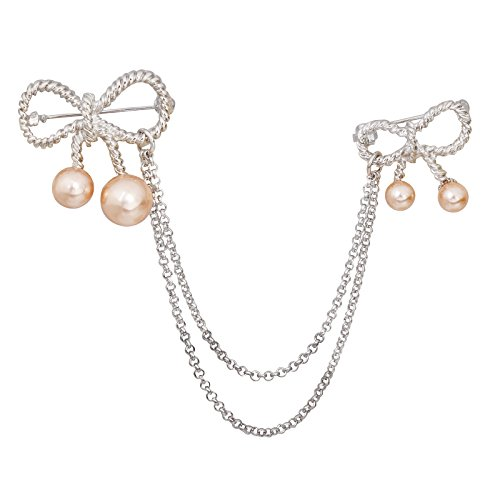 Bow Pearl Clasp (OBONNIE Women's Silver Tone Elegant Bowknot Double Bow Pearl Brooch Pin Breastpin with Chain Tassel (Champagne Pearl))