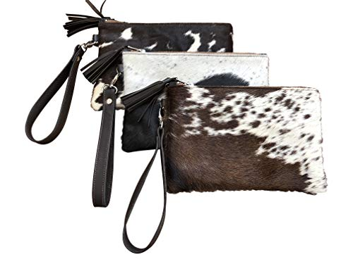 Deluxe Decor Real Cowhide Wristlet Clutch Purse Wallet Handbag Tricolor Black Leather Lined Double Sided ()
