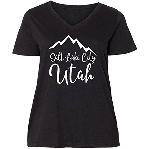 inktastic Salt Lake City Utah Ladies Curvy V-Neck Tee 4 (26/28) Black - Fashion Slc Place
