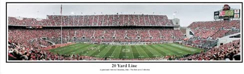 Ohio State Buckeyesオハイオスタジアム、Columbus Oh 20ヤードライン – NCAAコラージュFootballパノラマポスター# 5013  13.5x39 黒 Metal Framed Poster