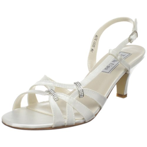 Touch Ups Women's Donetta Leather Slingback Sandal,White Satin,7.5 W (Touch Ups Mid Heel Sandals)