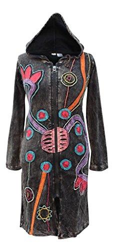 (Shopoholic Fashion Slashed Embroidered Goth Vintage Pattern Faded Hippy Festival Hoodie Long Jacket [3XL,Black])