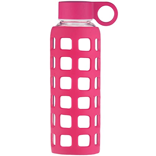 Origin Best BPA-Free Borosilicate Glass Water Bottle with Fun Square Silicone Sleeve and Leak Proof Lid - Dishwasher Safe (Red Raspberry, 32 - 32 Red Ounce Silicone