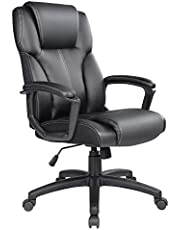 Ptoulemy High Back Office Chair with SpringCushion Computer Executive Desk Chair 360 Swivel Task Chair with arms PU Leather Ergonomic Chair (Black)