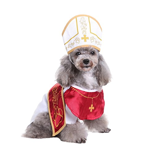 Dog Halloween Costumes Pope (GabeFish Pope Churchman Suit Apparel For Dogs Puppy Cats Pets Clothes Shirts For Halloween Christmas Xmas Pope Small)