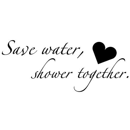 Boodecal Quote Series Wall Decals Save Water Shower Together Funny Catch- Phrase Vinyl Wall Quotes Art Stickers Cute Inspirational Home Bathroom Shower Glass Sayings Art Lettering 229 Inches ()