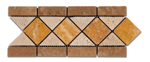 Ivory & Noce & Gold Travertine Trojan Tumbled Border / Listello - Sample Piece