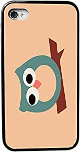Rikki KnightTM Green Owl on Brown Design iPhone 4 & 4s Black Case Cover (Black Rubber with bumper protection) for Apple iPhone 4 & 4s