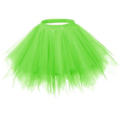 Ellames Women's Vintage 1950s Tutu Petticoat Ballet Bubble Dance Skirt Bright Green L/XL