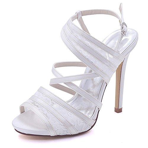 Satén L Blanco Heel Gran Tamaño High Encaje Las Y Nupcial Peep 07 7216 Boda Zapatos De Toe yc Mujeres YrBYqwC