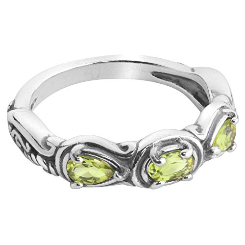 Carolyn Pollack Sterling Green Peridot Gemstone 3 Stone Ring Size 6