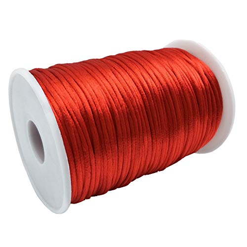 FQTANJU Red 2mm x 100 yards Satin Nylon Trim Cord, Rattail, Chinese Knot, Kumihimo, Premium Quality