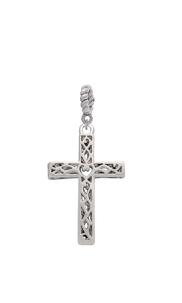 Silvertone Large Celtic Vine Cross Rope Charm Bead