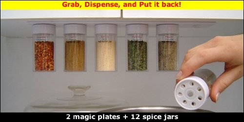 Magic Spicer 12 jars (self-sealing magnetic spice rack with spice jars)