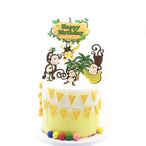 Monkey Cake Decorations (NN-BH Happy Birthday Cake Topper Birthday Party Cake Decoration Cartoon Monkey Picking Banana Cake)