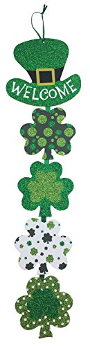 St Patricks Day Decoration Wall Hanging Welcome Wood Sign - -