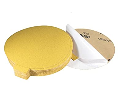 120 Grit 5 Inch Gold Peel and Stick Adhesive Backed PSA Sanding Discs with Tabs 100 Pack