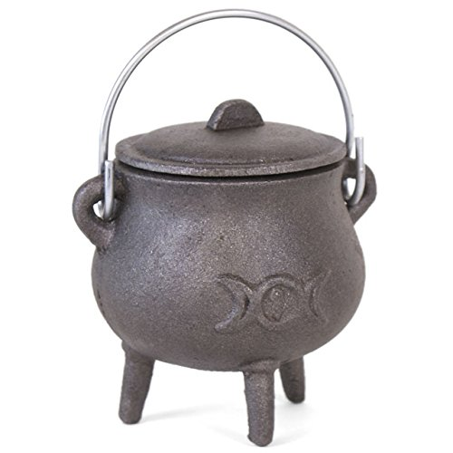 Small Cast Iron Cauldron With Lid And Handle. Triple Moon Design. Approx 11cm