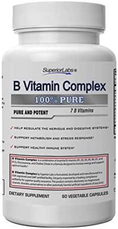 Superior Labs B Vitamin Complex - Superior Absorption - 100% NonGMO Safe from Additives, Stearates, Gluten and Other Allergens - Regulate Digestive System and Support Metabolism - 60 Vegetable Caps