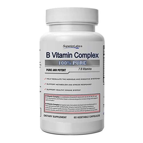 Superior Labs B Vitamin Complex – Superior Absorption – 100% NonGMO Safe from Additives, Stearates, Gluten and Other Allergens – Regulate Digestive System and Support Metabolism – 60 Vegetable Caps