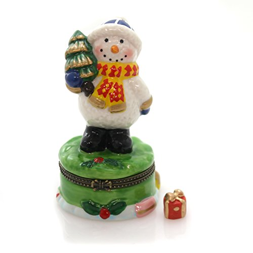 Snowman Hinged Box - Jolly Winter Snowman Holding Christmas Tree Hinged Trinket Box