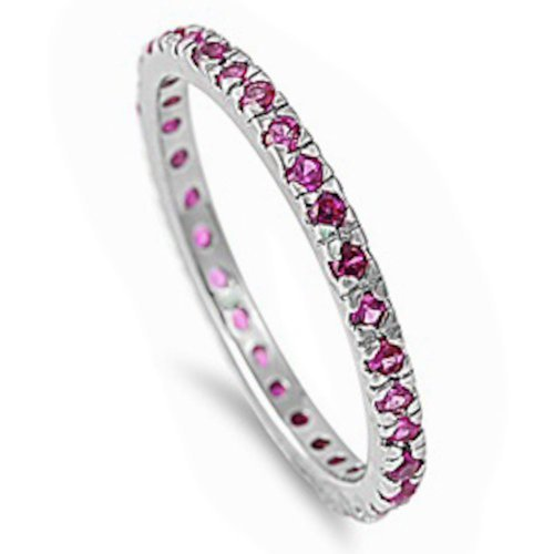 (Oxford Diamond Co Stackable Simulated Ruby Cubic Zirconia Eternity Anniversary Band .925 Sterling Silver Ring Size 3)
